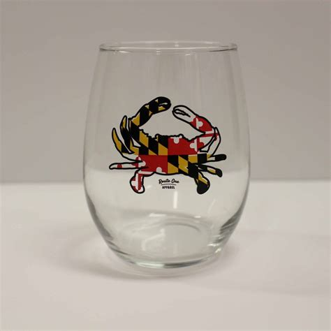 maryland full flag crab stemless wine glass route