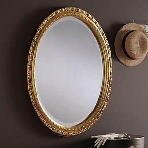 Decorative, Gold, Ornate, Oval, Wall, Mirror