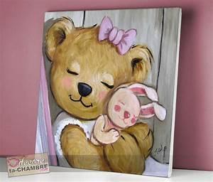 Tableau Chambre Fille : tableau ourson pour chambre de fille vente tableau nounours pour la d co d 39 enfants ~ Teatrodelosmanantiales.com Idées de Décoration