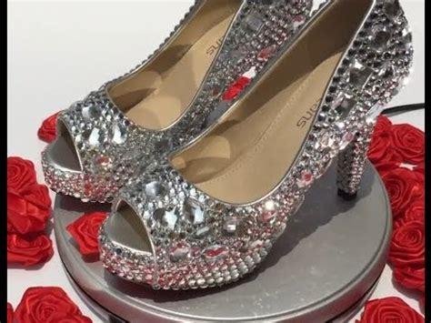 velcans diy studded silver rhinestone peep toe wedding