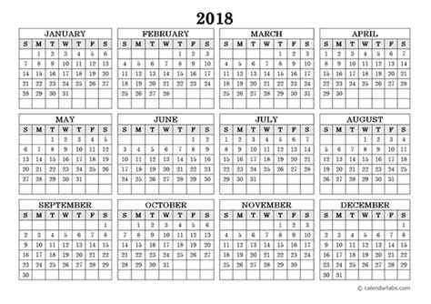 blank yearly calendar landscape  printable