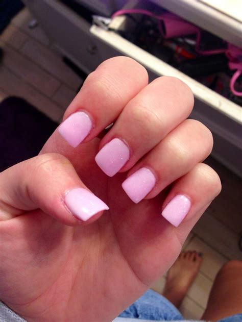 perfect light pink acrylic nails   hint  sparkle