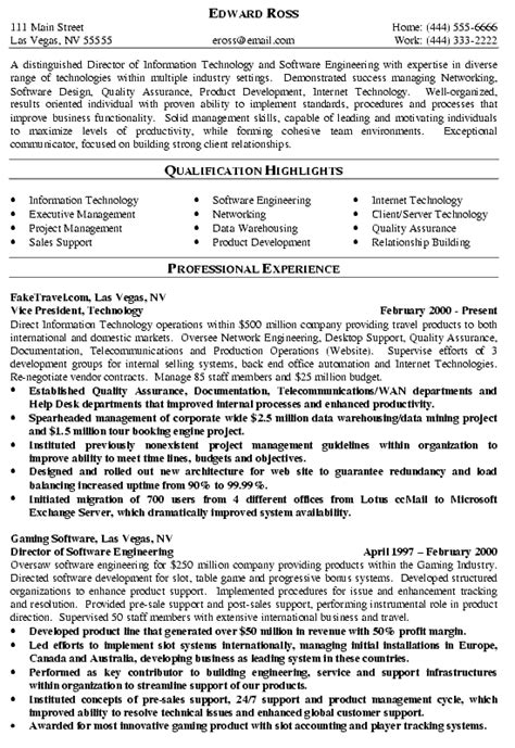 Exle Resume Of It Manager by Director Of It Resume Exle