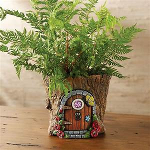 Fairy Door in Tree Stump Trunk Cement Flower Pot / Garden