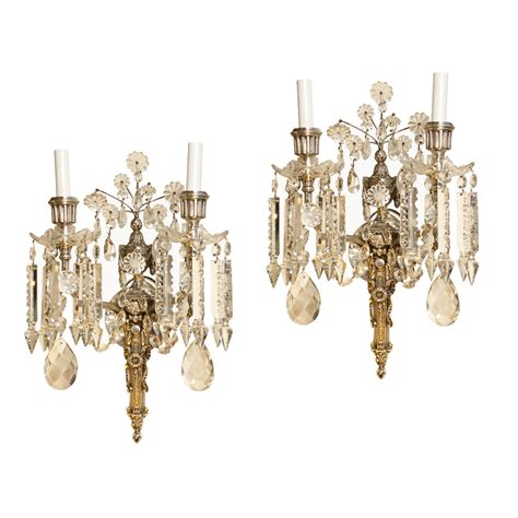 Pair Of French Antique Crystal Sconces  On Antique Row