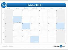 October 2018 Calendar monthly calendar template