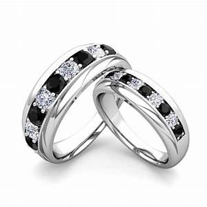 his and hers wedding band 18k gold black diamond wedding rings With his and hers black diamond wedding rings