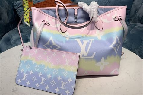 louis vuitton  lv escale neverfull mm tote bag pastel pink monogram canvas ireplicabags