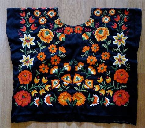 Mexican Tehuana embroidered Huipil blouse Black Satin ...