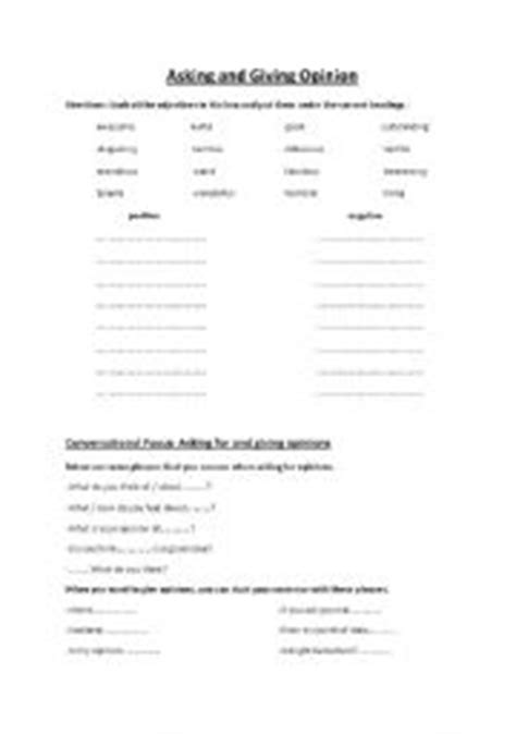 esl worksheets for adults asking and giving opinion