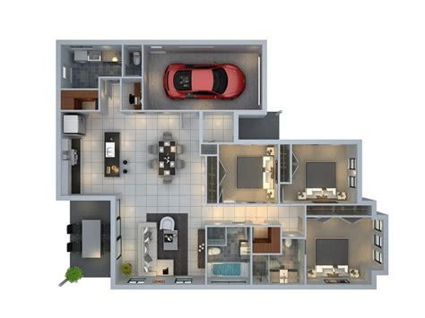 3 Bedroom Apartment House 3d Layout Floor Plans by 3 Bedroom Apartment House Plans