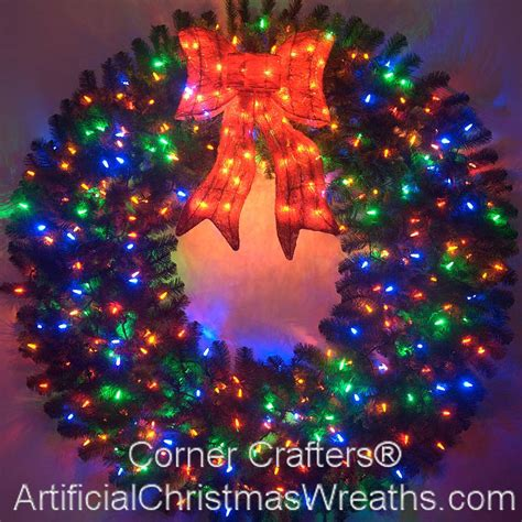 60 inch lighted outdoor christmas wreath 60 inch color changing l e d lighted wreath cornercrafters multi color prelit