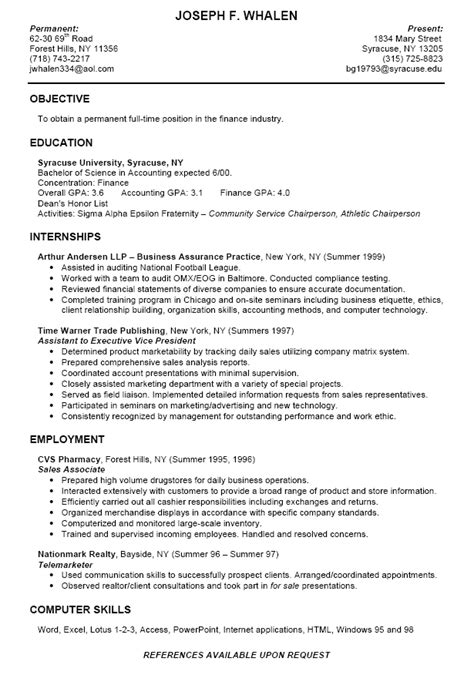 sample resume for college college finance