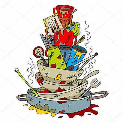 Pile Dirty Dishes Clipart Stack Filthy Sporco