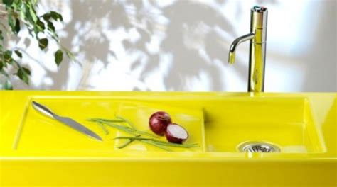 yellow kitchen sink colorful neon yellow sink and counter top digsdigs 1220