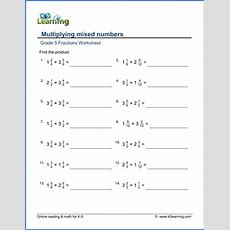 Grade 5 Fractions Worksheets Multiplying Mixed Numbers  K5 Learning