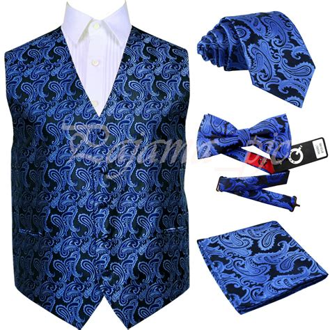 royal blue xs xl paisley tuxedo suit dress vest waistcoat