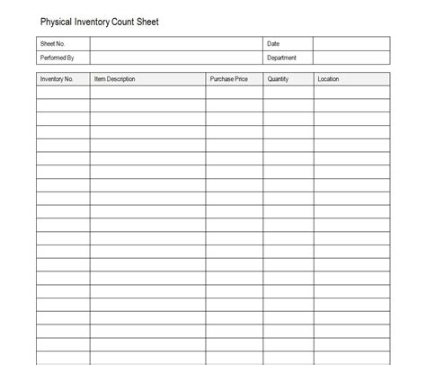 free inventory count sheet accounting templates