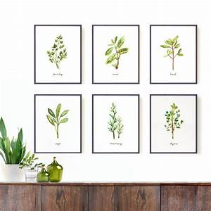 kitchen art herb print set of 6 8x10 watercolor art by With kitchen colors with white cabinets with botanical prints wall art
