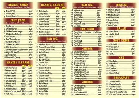 Jans Broast Boat Basin Menu by Master Broast Restaurant Karachi Karachi Master Broast