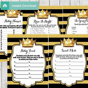Black and Gold Royal Prince Baby Shower Games - D271