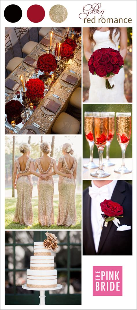 wedding color board golden red romance  pink bride