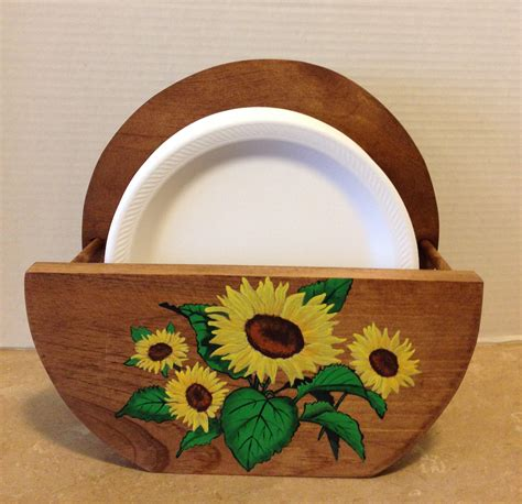 wooden paper plate holders paper plate holder rooster kitchen decor hand painted rooster pine