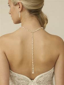 Top selling crystal pearl back necklace for weddings for Robe de mariée discount avec bijoux parure mariage
