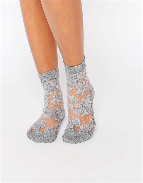 Floral Sheer Socks asos asos glitter floral sheer ankle socks at asos