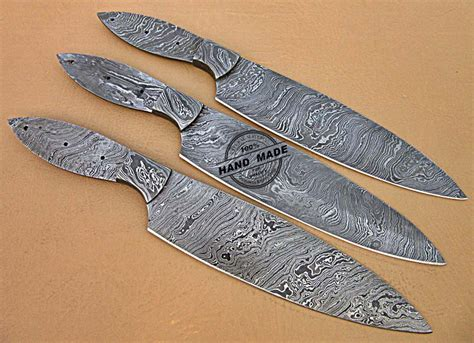 Custom Kitchen Knives For Sale by Lot Of 3 Pcs Professional Kitchen Knives Blank Blade Set