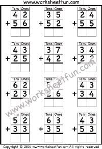 single digit vertical addition without regrouping addition no regrouping free printable worksheets