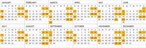 calendar      weekends  texas