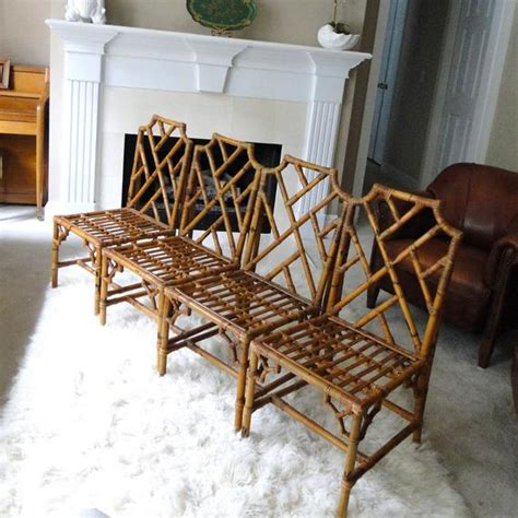 vintage chair chinese chippendale seat  natural honey bamboo