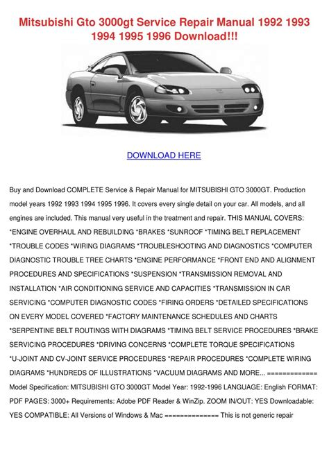 car service manuals pdf 1995 mitsubishi gto electronic throttle control mitsubishi gto 3000gt service repair manual 1 by todster issuu