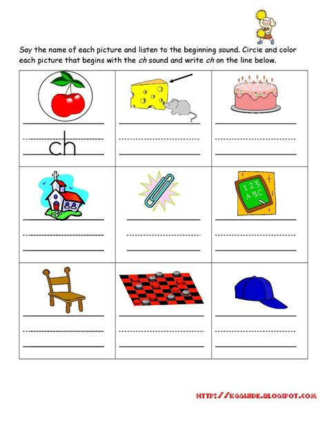 kindergarten worksheet guide pictures clip art