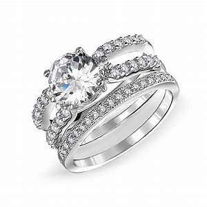 925 silver round cz double band engagement wedding ring set for Wedding and engagement ring set