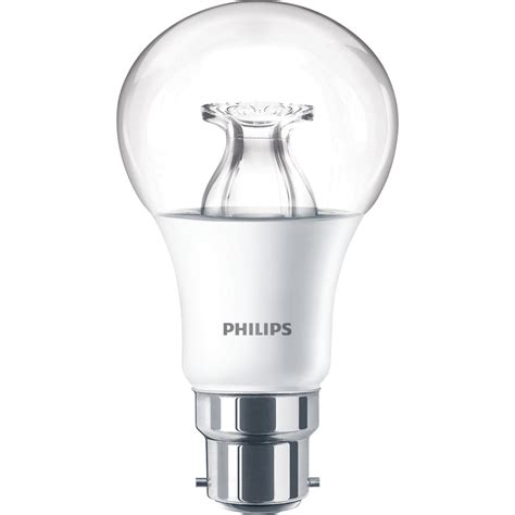 philips led warm glow dimmable a shape l 8 5w bc b22d