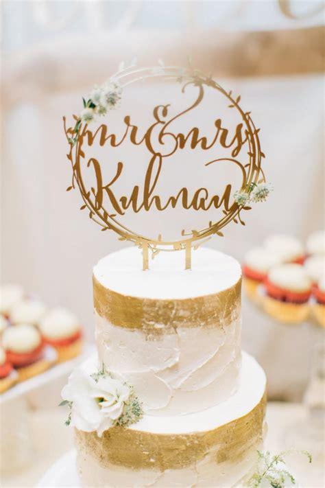 Laser Cut Rustic Mr And Mrs Gold Wreath Wedding Cake