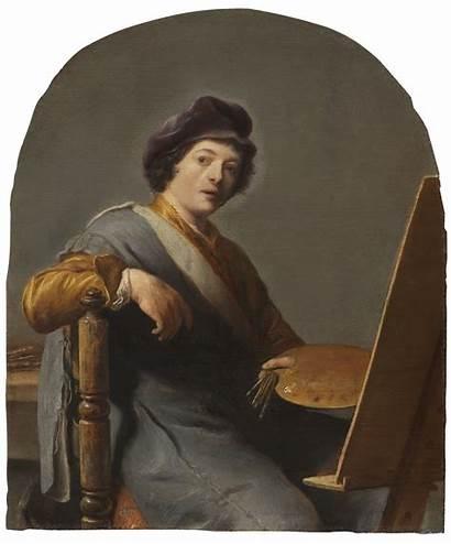 Portrait Artist Self Easel Seated Resolution Leiden