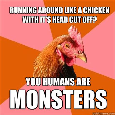 Chicken Running Meme - running around like a chicken with it s head cut off you humans are monsters anti joke