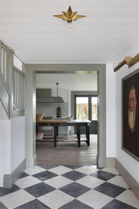 black  white checkered ceramic tile   entryway