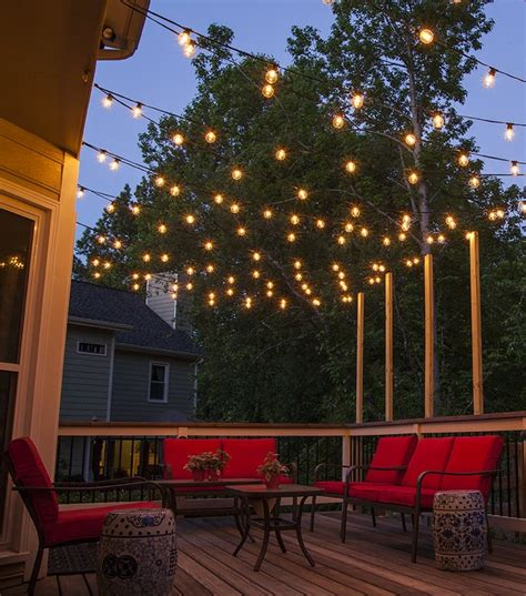 Backyard String Lighting Ideas by How To Plan And Hang Patio Lights