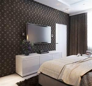 Tv Im Schlafzimmer : schlafzimmer wand dekorieren tapete blumenmuster braun ~ Lizthompson.info Haus und Dekorationen