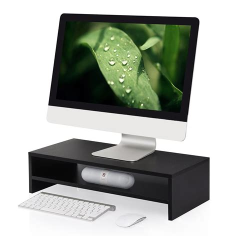 tier computer monitor stand black monitor