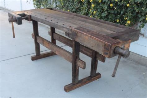 early  antique wooden carpenters work bench table