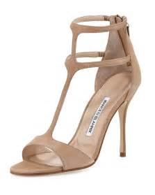 Beige T-Strap High Heel Sandals