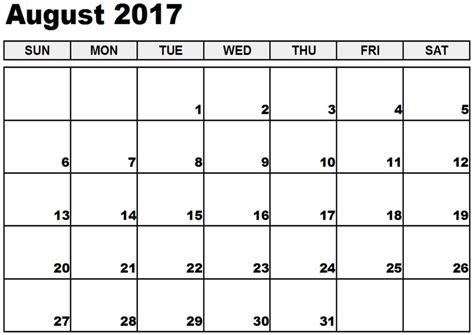 2017 printable calendar template holidays excel word august 2017 printable calendar template holidays excel 2017