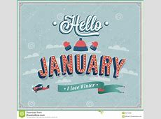 Hello January Typographic Design Stock Vector