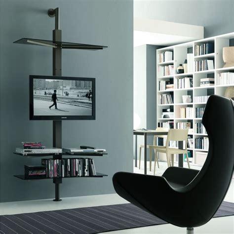 mensole porta tv porta tv orientabile kino con mensole in cristallo a