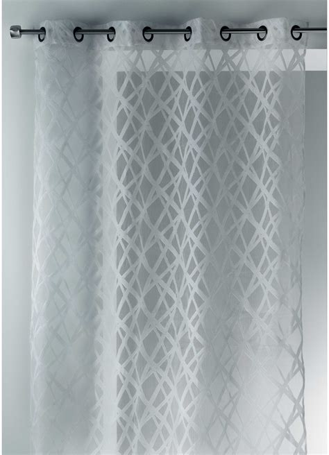 voilage en organza jacquard design blanc noir